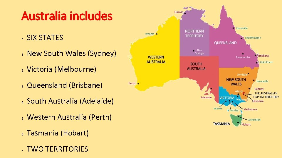 Australia includes • SIX STATES 1. New South Wales (Sydney) 2. Victoria (Melbourne) 3.