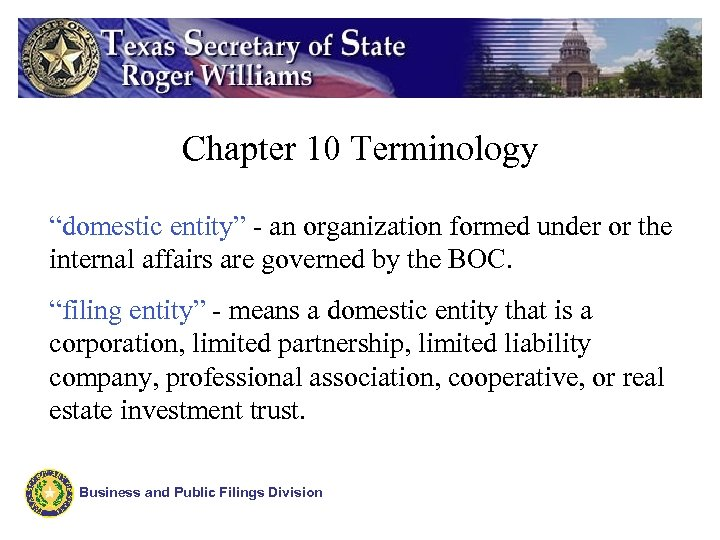"Chapter 10 Terminology ""domestic entity"" - an organization formed under or the internal affairs"