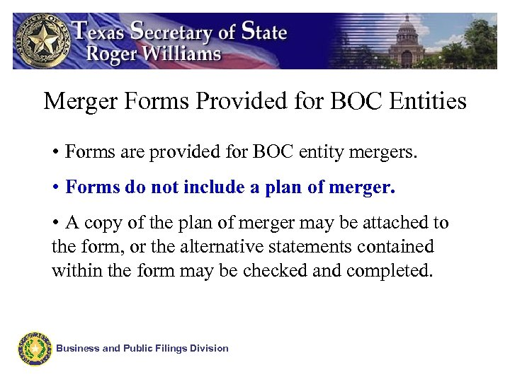 Merger Forms Provided for BOC Entities • Forms are provided for BOC entity mergers.