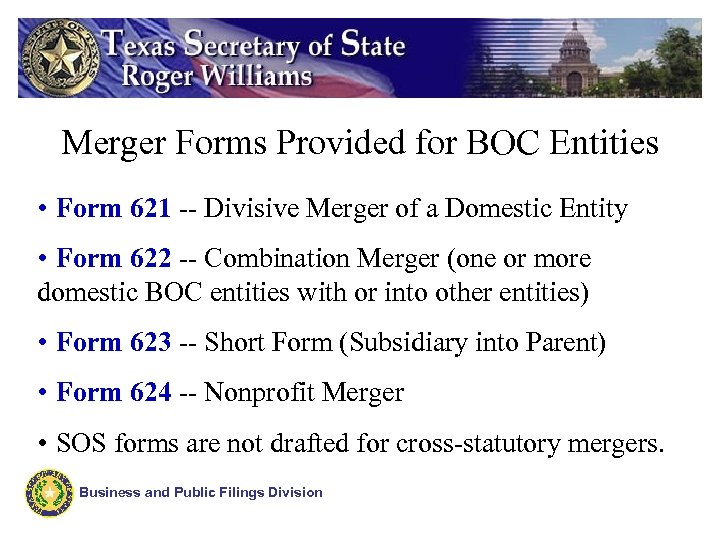 Merger Forms Provided for BOC Entities • Form 621 -- Divisive Merger of a