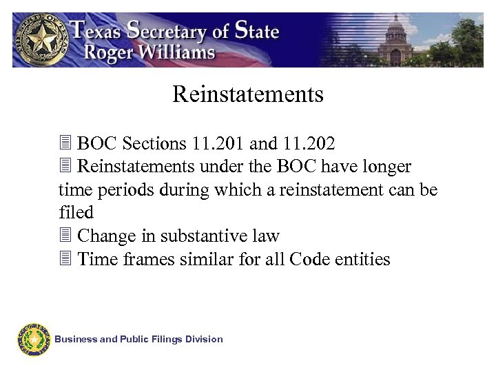 Reinstatements 3 BOC Sections 11. 201 and 11. 202 3 Reinstatements under the BOC