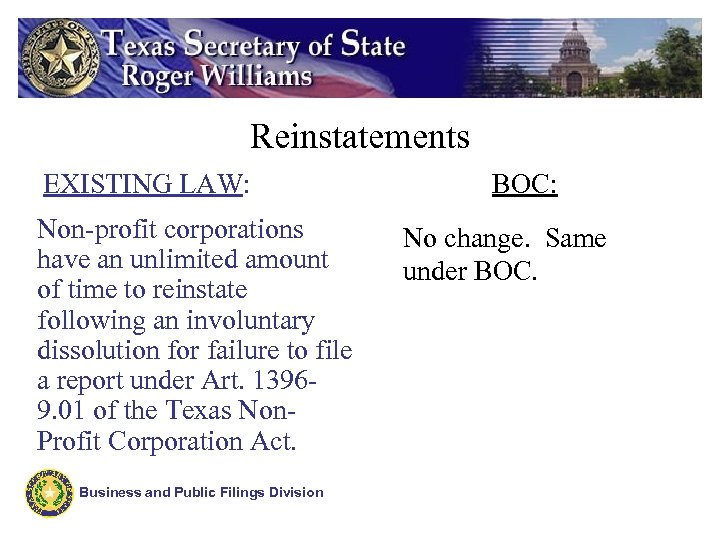 Reinstatements EXISTING LAW: Non-profit corporations have an unlimited amount of time to reinstate following