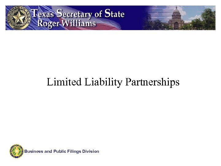Limited Liability Partnerships Business and Public Filings Division