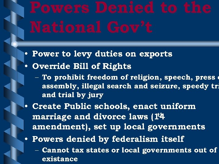 Powers Denied to the National Gov't • Power to levy duties on exports •