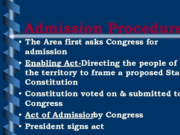 Admission Procedure • The Area first asks Congress for admission • Enabling Act-Directing the