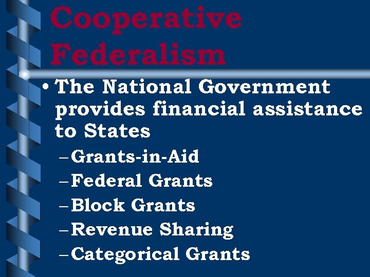 Cooperative Federalism • The National Government provides financial assistance to States – Grants-in-Aid –