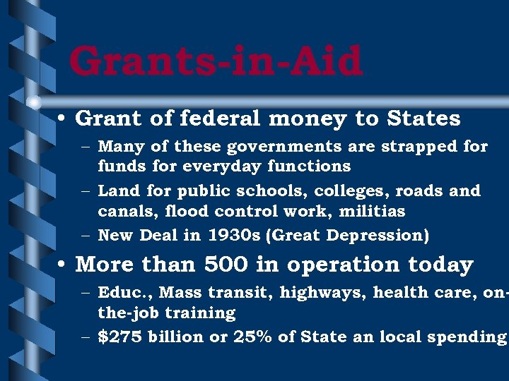 Grants-in-Aid • Grant of federal money to States – Many of these governments are