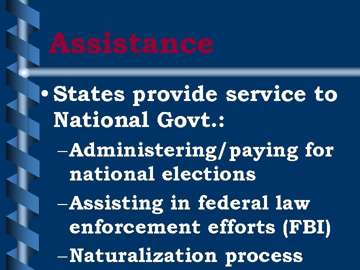 Assistance • States provide service to National Govt. : – Administering/paying for national elections
