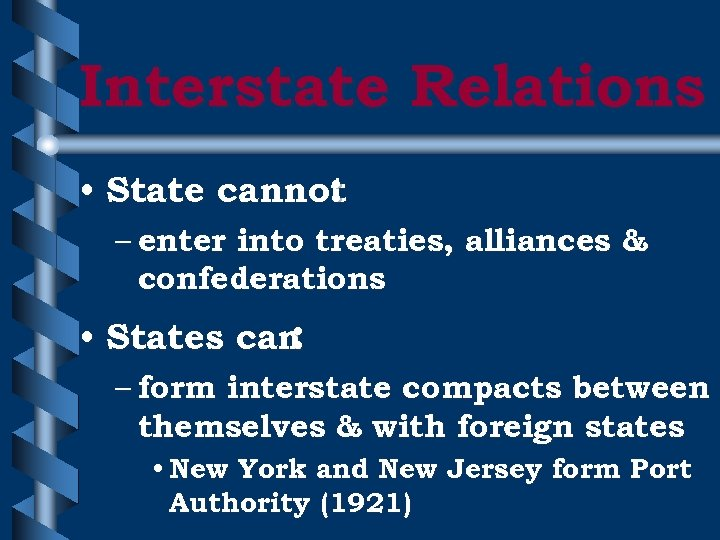 Interstate Relations • State cannot : – enter into treaties, alliances & confederations •