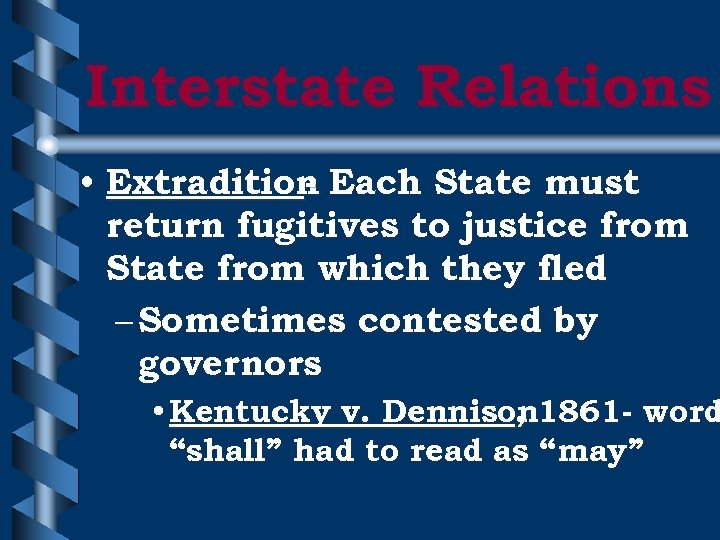 Interstate Relations • Extradition Each State must return fugitives to justice from State from