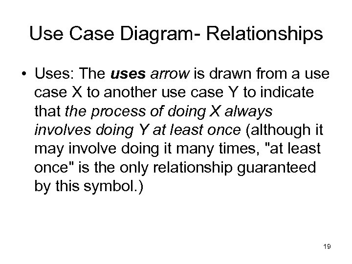 Use Case Diagram- Relationships • Uses: The uses arrow is drawn from a use