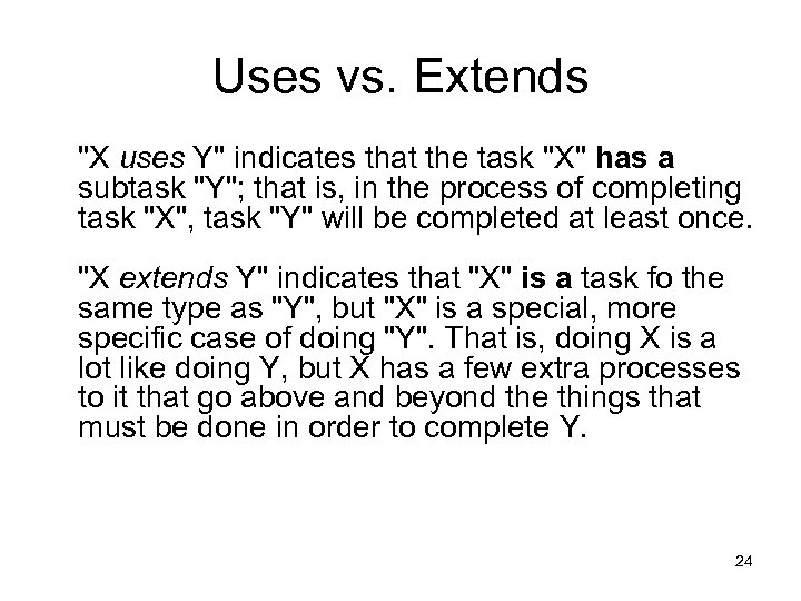 Uses vs. Extends