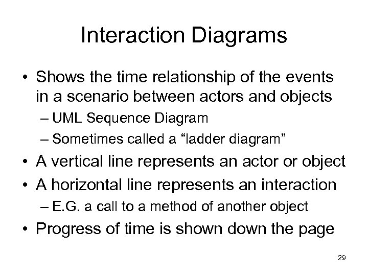 Interaction Diagrams • Shows the time relationship of the events in a scenario between