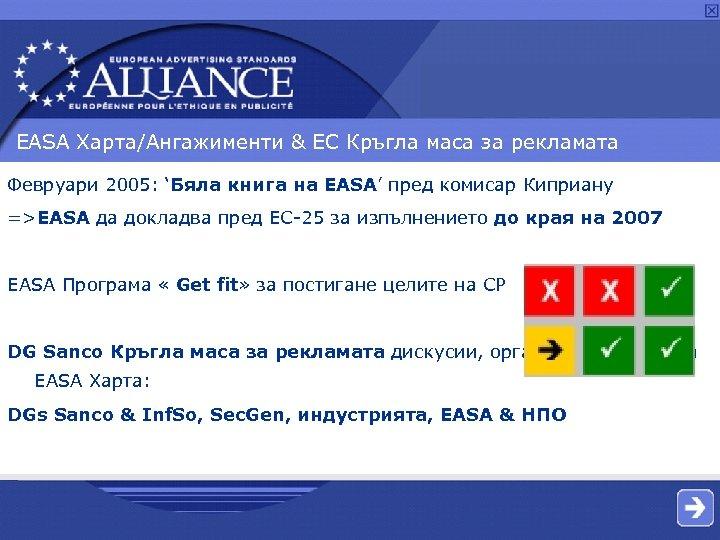 EASA Харта/Ангажименти & ЕС Кръгла маса за рекламата Февруари 2005: 'Бяла книга на EASA'