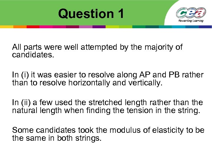 Question 1 All parts were well attempted by the majority of candidates. In (i)