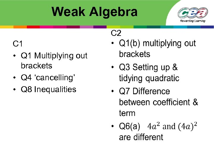 Weak Algebra C 1 • Q 1 Multiplying out brackets • Q 4 'cancelling'