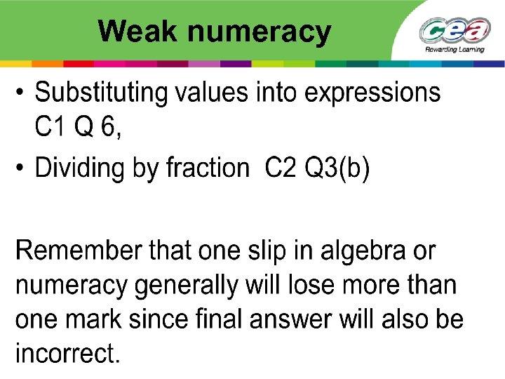 Weak numeracy •