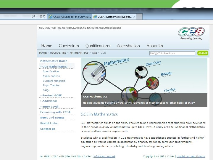 GCE Mathematics page