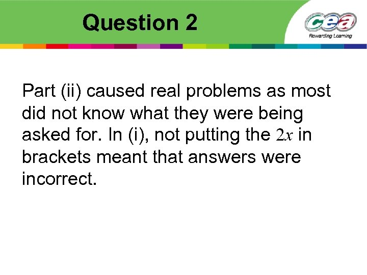 Question 2 Part (ii) caused real problems as most did not know what they
