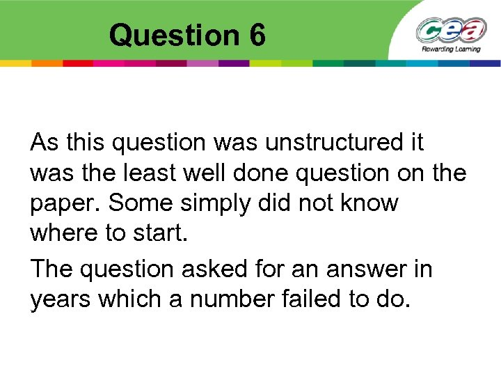 Question 6 As this question was unstructured it was the least well done question