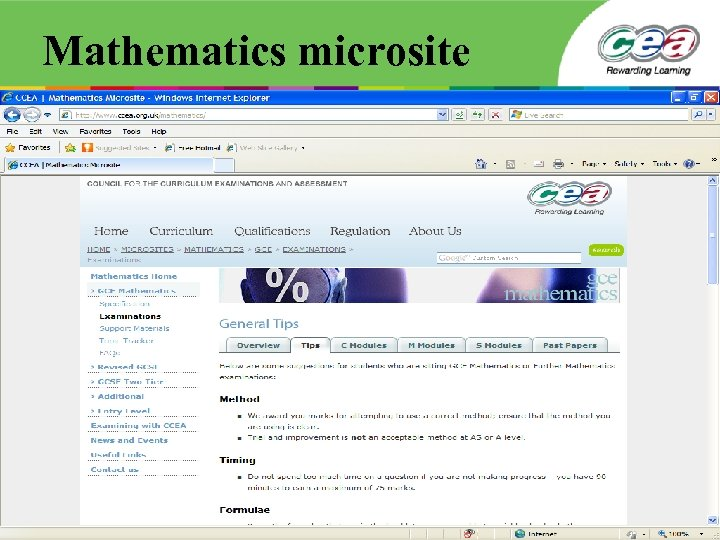 Mathematics microsite