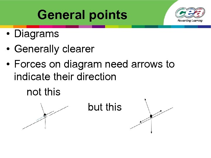 General points • Diagrams • Generally clearer • Forces on diagram need arrows to