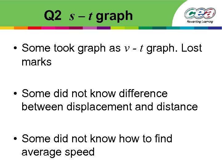 Q 2 s – t graph • Some took graph as v - t