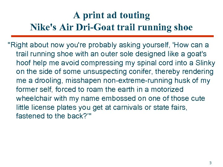 A print ad touting Nike's Air Dri-Goat trail running shoe
