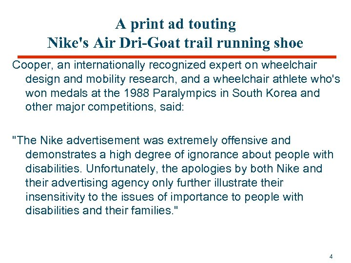 A print ad touting Nike's Air Dri-Goat trail running shoe Cooper, an internationally recognized