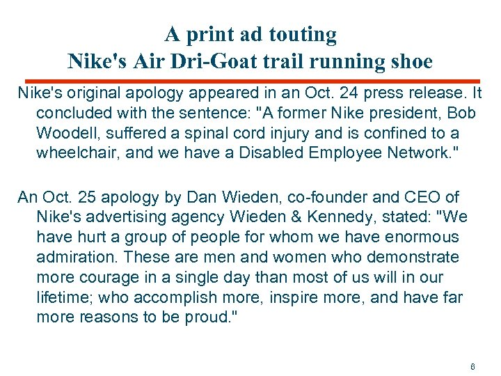 A print ad touting Nike's Air Dri-Goat trail running shoe Nike's original apology appeared