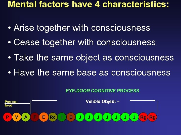 Mental factors have 4 characteristics: • Arise together with consciousness • Cease together with