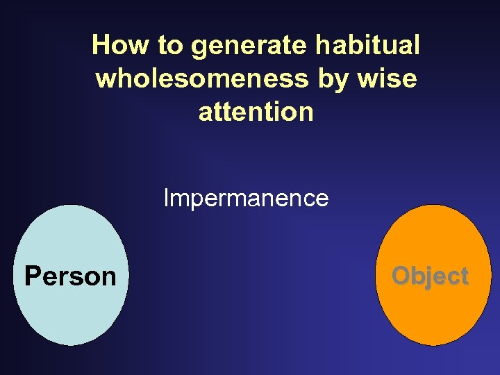 How to generate habitual wholesomeness by wise attention Impermanence Person Object