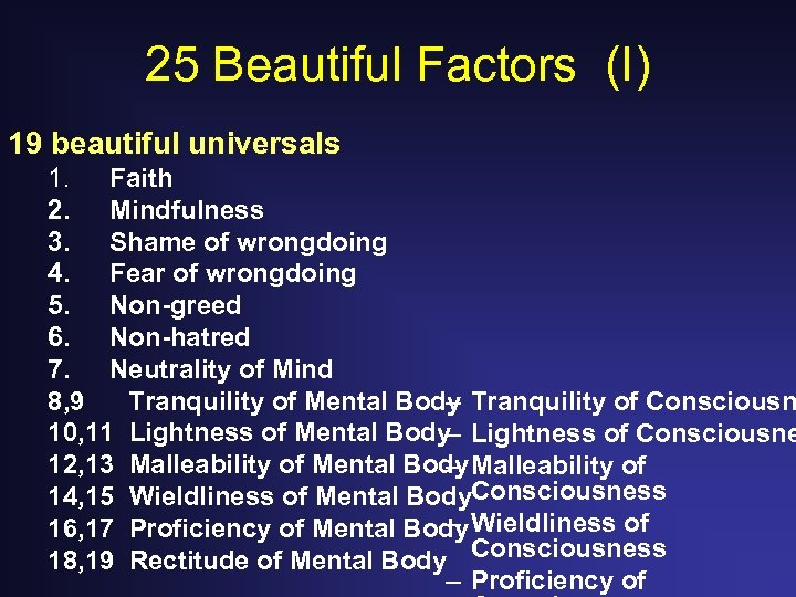 25 Beautiful Factors (I) 19 beautiful universals 1. Faith 2. Mindfulness 3. Shame of