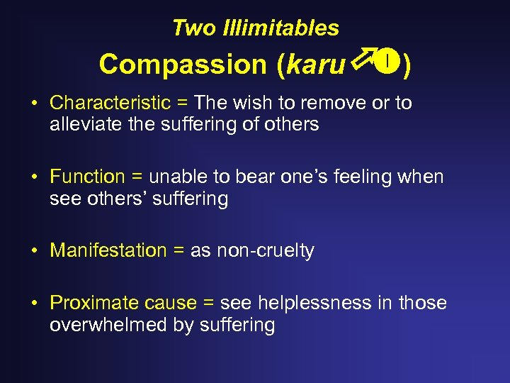 Two Illimitables Compassion (karu ) • Characteristic = The wish to remove or to