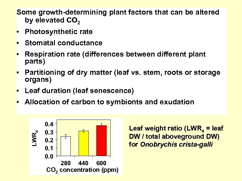 Some growth-determining plant factors that can be altered by elevated CO 2 • Photosynthetic