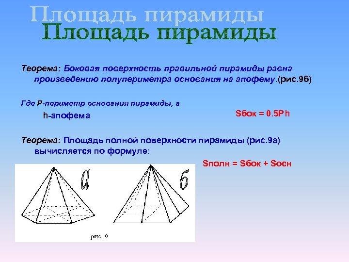 Теорема: Боковая поверхность правильной пирамиды равна произведению полупериметра основания на апофему. (рис. 9 б)