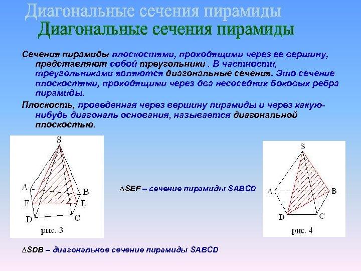 Сечения пирамиды плоскостями, проходящими через ее вершину, представляют собой треугольники. В частности, треугольниками являются
