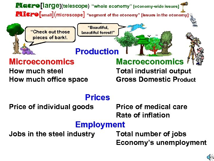 "Macro[large](telescope) ""whole economy"" [economy-wide issues] Macro Micro[small](microscope] ""segment of the economy"" [issues in the"