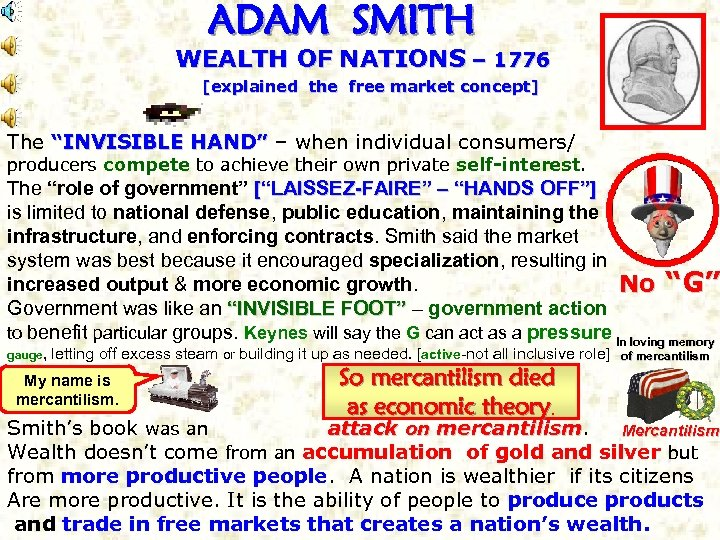 "ADAM SMITH WEALTH OF NATIONS – 1776 [explained the free market concept] The ""INVISIBLE"