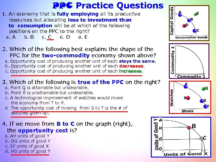 PPC Practice Questions 1. An economy that is fully employing all its productive resources