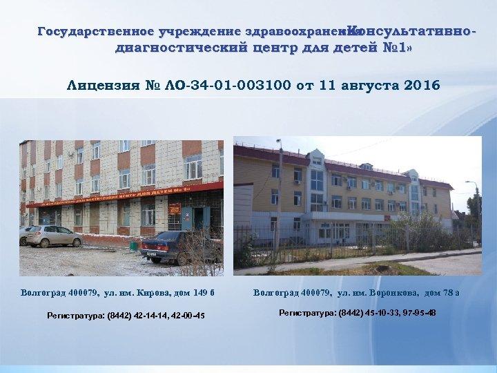 Государственное учреждение здравоохранения «Консультативно- диагностический центр для детей № 1» Лицензия № ЛО-34 -01