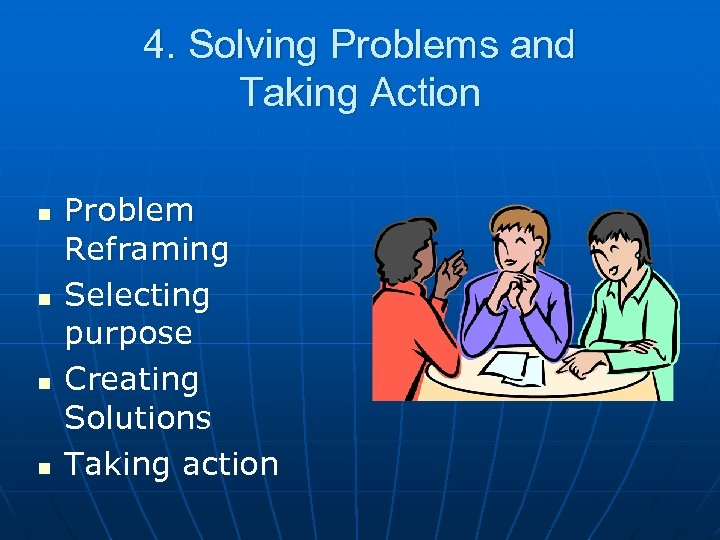 4. Solving Problems and Taking Action n n Problem Reframing Selecting purpose Creating Solutions