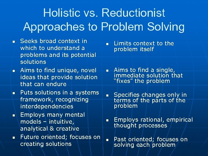 Holistic vs. Reductionist Approaches to Problem Solving n n n Seeks broad context in