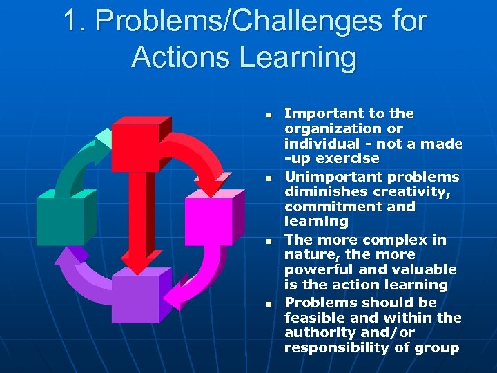1. Problems/Challenges for Actions Learning n n Important to the organization or individual -