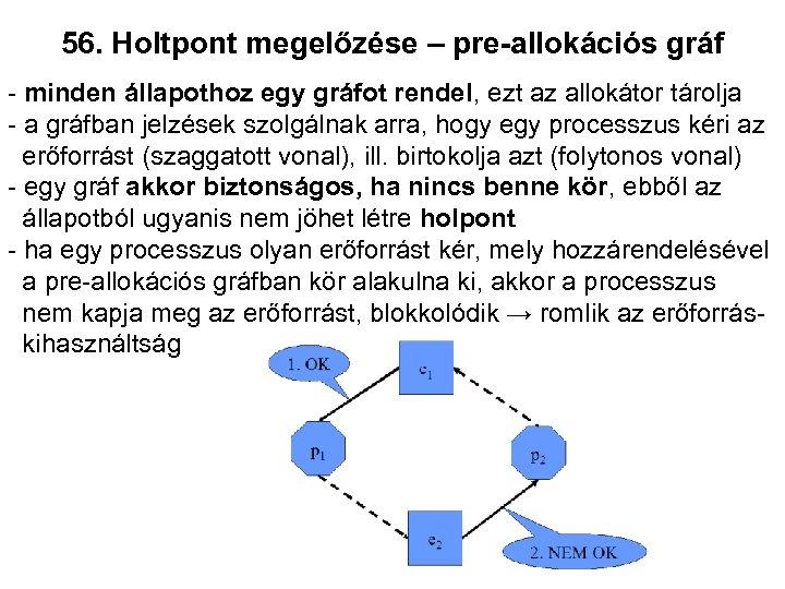 56. Holtpont megelőzése – pre-allokációs gráf - minden állapothoz egy gráfot rendel, ezt az