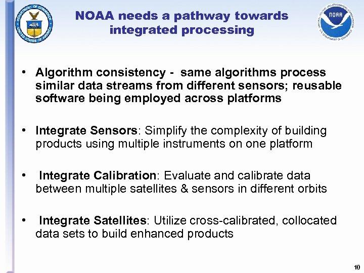 NOAA needs a pathway towards integrated processing • Algorithm consistency - same algorithms process
