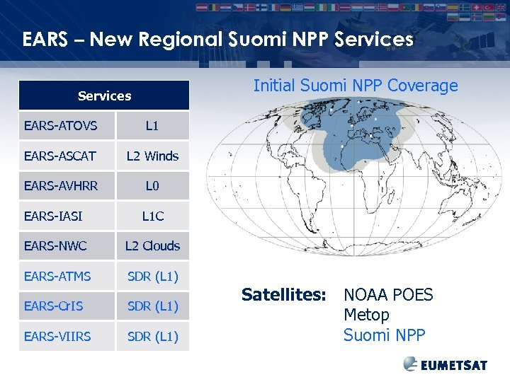 EARS – New Regional Suomi NPP Services Initial Suomi NPP Coverage Services EARS-ATOVS L