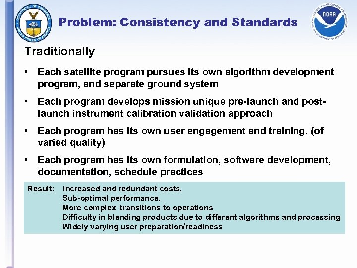 Problem: Consistency and Standards Traditionally • Each satellite program pursues its own algorithm development
