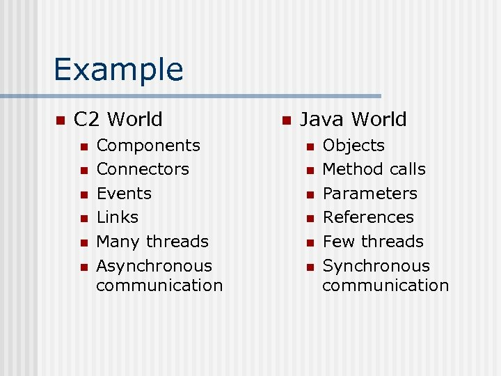 Example n C 2 World n n n Components Connectors Events Links Many threads