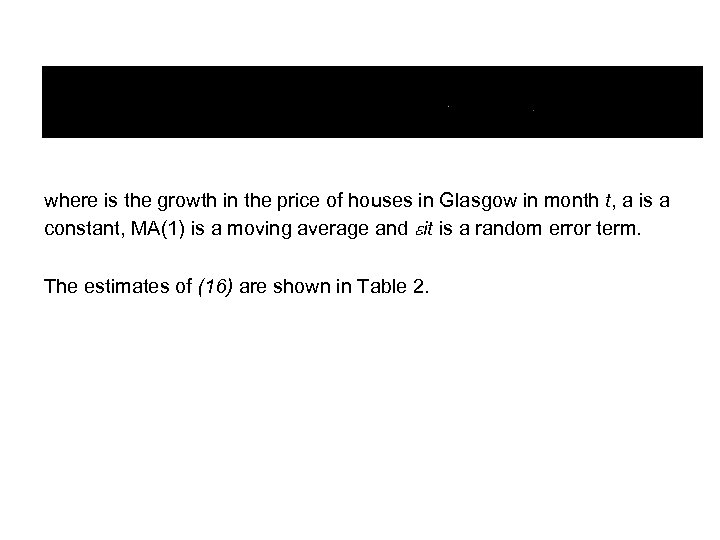 where is the growth in the price of houses in Glasgow in month t,